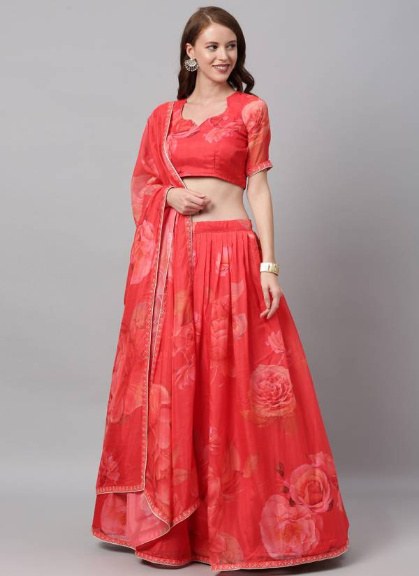 Kesari Exports Series PFB 8 Red-R 2 Georgette And Fancy Silk Embroidery With Printed Designer Work Lehenga Choli Collection