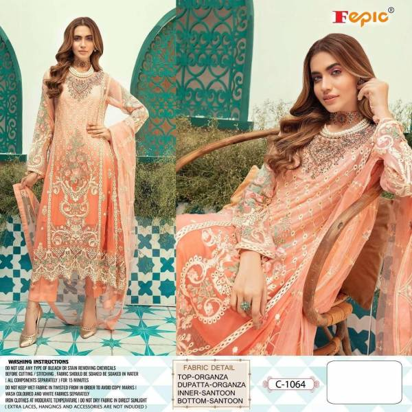 Fepic Rosemeen Series C-1056 Khaadi Organza Heavy Embroidery With Heavy Hand Work Eid special Pakistani Suits Collection