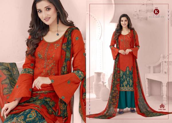 Kala Fashion Kala Cotton Vol 1 Series 1001-1008 Pure Cotton Jam Satin Print With Self Embroidery Work Daily Wear Palazzo Suits Collection