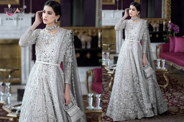 Rinaz Fashion Series 1128A-1128D Butterfly Net With Heavy Embroidery & Diamond Work Eid Special Pakistani Suits Collection