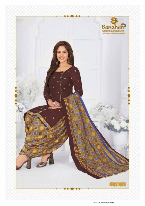 Bandhan Suits Sahiba Vol 12 Series 12001-12015 Pure Cotton New Designer Printed Office Wear Readymade Salwar Suits Collection