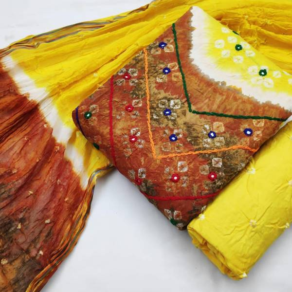 Nakshatra Fashion Studio Bandhani Dress Matterial Vol 1 Series 2081-2087 Cotton Handicraft Bandhej Non Catalog Salwar Suits Collection