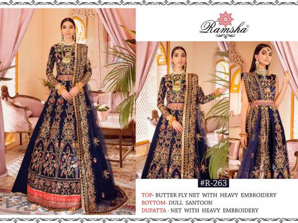 Ramsha Series R-262 - R-264 Butterfly Net Heavy Embroidery & Hand Work Wedding Wear Latest Pakistani Suits Collection