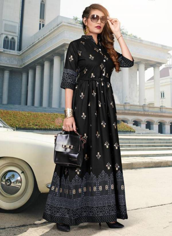 Fashion Valley Dresses Rang Vol 2 Series 125-132 Rayon Long Gown With Foil Print Fancy Kurti Collection