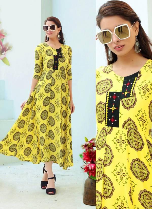 Aradhna Fashion Glam Girl Vol 4 Series 4001-4012 Heavy Rayon Wtih Embroidery Hand Work Designer Floor Length Kurtis Collection