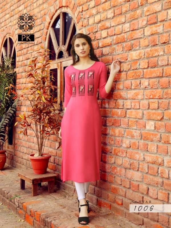 PK Fashion Star Vol 1 Series 1001-1010 Heavy Rayon With Embroidery Work Office Wear New Designer Kurtis Collection
