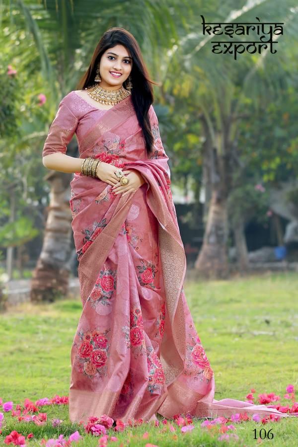 Kesariya Export The Royal Silk Series 101-110 Royal Silk Jacquard With Digital Print Designer Party Wear Silk Sarees Collection