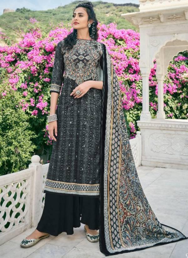 Kesari Trendz Hafsha Series H9001-H9006 Winter Wear Pure Pashmina Digital Printed Palazzo With Velvet Dupatta Collection