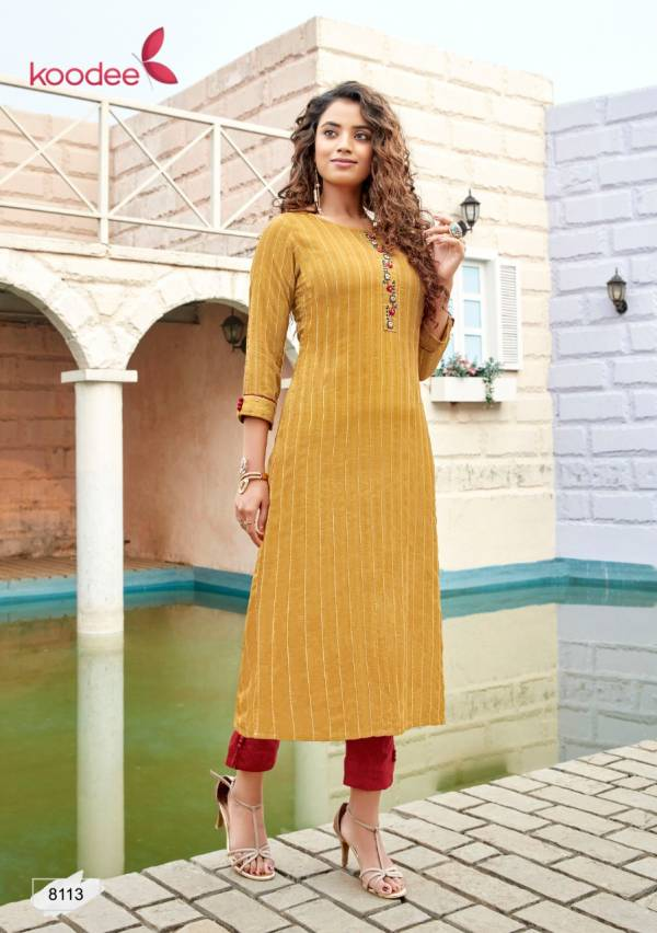 Koodee Instagirl Vol 5 Series 8110-8114 Viscose Weaving With Khatli Work Casual Wear Kurti With Pant Collection