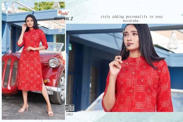 Smylee NX Mint Vol 2 Series 1001-1008 Heavy Slub Rayon Printed With Stylish Hand Work Casual Wear Kurti Collection
