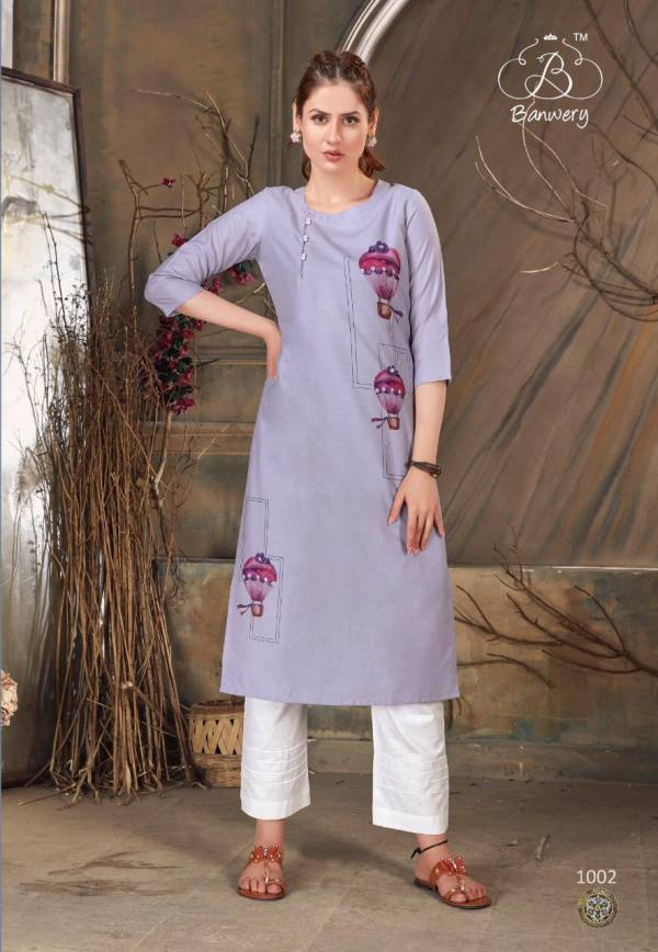 Banwery Baby Girl Series 1001-1008 Heavy Premium Cotton With Digital Print With Hamd Work Kurtis Collection