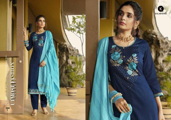 Kalarang Mahek Series 2011-2014 Pure Jam Cotton Silk With Embroidery Work New Designer Straight Suits Collection