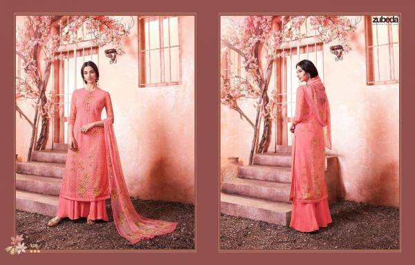 Zubeda Maher Georgette Shiffli Digital Print Work Festival Special Palazzo Suits Collection