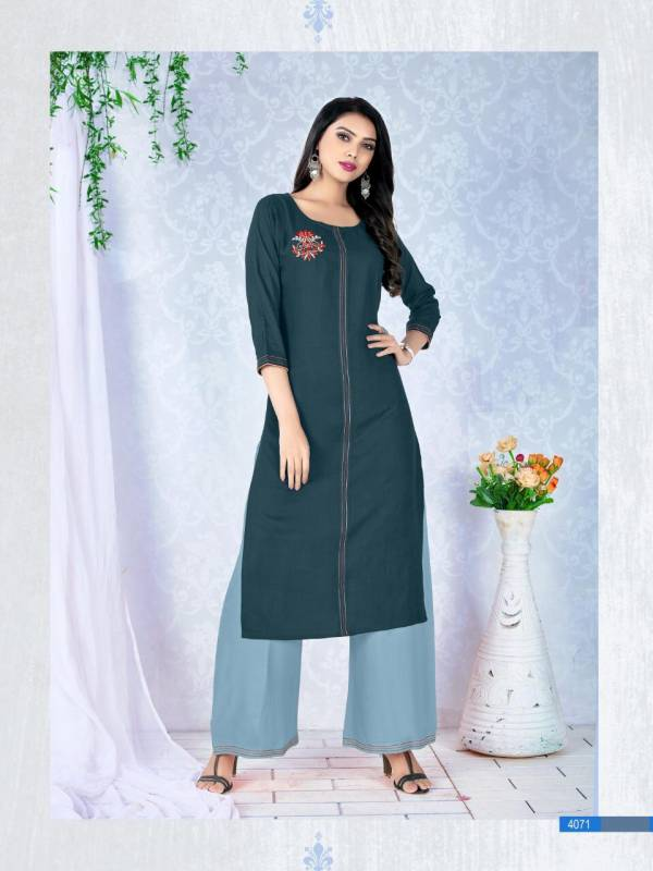 Dehliz Trendz Diva Rayon With Embroidery Work Trendy Kurti With Palazzo Collections