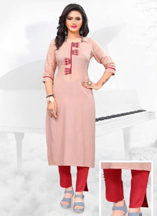 Manisha Fashion Heer Series 1001-1006 Heavy Super Slub Rayon Mirror Embroidery Work With Pant Rayon Potli Kurti Collections