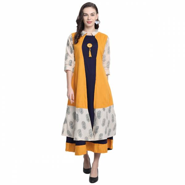 Niksha Fashion Heavy Rayon Block Print With Fancy Button Long Kurtis Collection