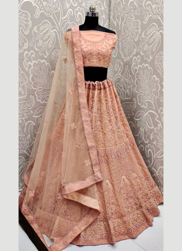 Anjani Art Series A2129a-A2129c New Fancy Party Wear Heavy Net With Crepe Inner Dori Embroidery Work Lehenga Choli Collection