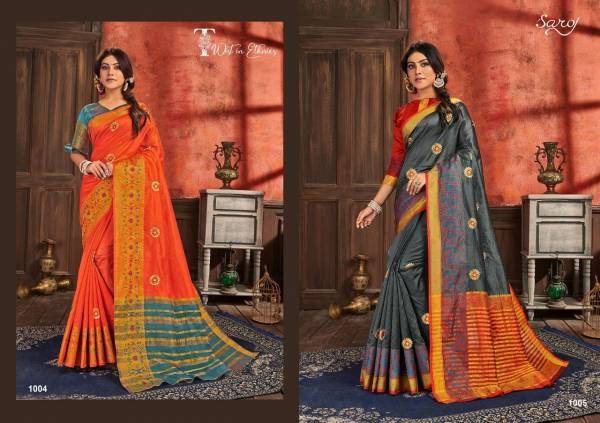 Saroj Shubh Muhrat Vol 2 Series 1001-1008 Cotton Silk With Fancy Embroidery Work With Butti Work Festival Wera Exclusive Designer Sarees Collection