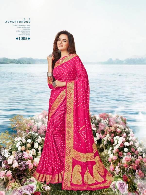 Ameera Tex Chunari Silk Series 1001-1005 Pure Viscose With Bandhej Printed Designer Sarees Collection