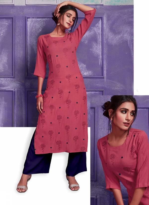 Tips & Tops Fashionista Series 0002-0009 Heavy Rayon Linen Weaving With Embroidery Work Party Wear Designer Kurtis Collection