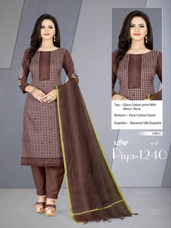 Bipson Piya 1240 Glace Cotton Printed With Mirror Work Churidar Suits Collection