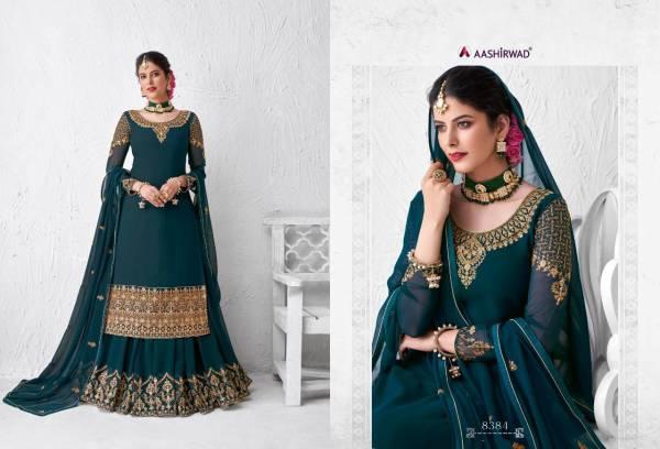Aashirwad Meraki Series 8380-8384 Real Georgette With Heavy Embroidery Work Latest Designer Wedding Wear Lehenga Suits Collection