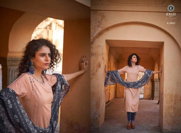 Kalki Fashion Glace Pure Rayon With Embroidery Katha Work Readymade Suits Collection