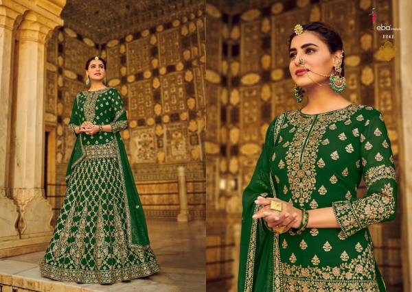 Eba Lifestyle Rashm O Riwaz Fox Georgette With Embroidery Work With Khatli Work And Diamond Work Party Wear Designer Lehenga Suit Collection