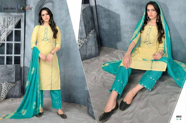 Seven Threads Prisha Cotton Slub With Fancy Work Readymade Salwar Suits Collection