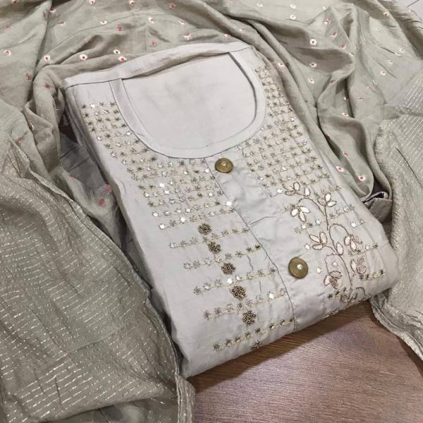 Designer Suit Pure Cotton With Hand Worked Design Dress Material Collection