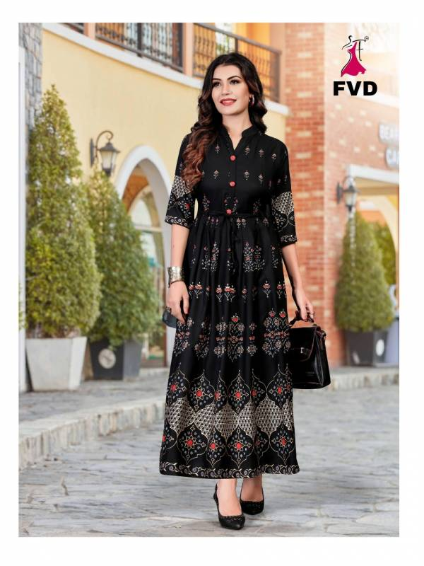 Fashion Valley Dress Rang Vol 1 Series 101-108 Long Fancy Gown Rayon With Foil Print Designer Kurti Collection
