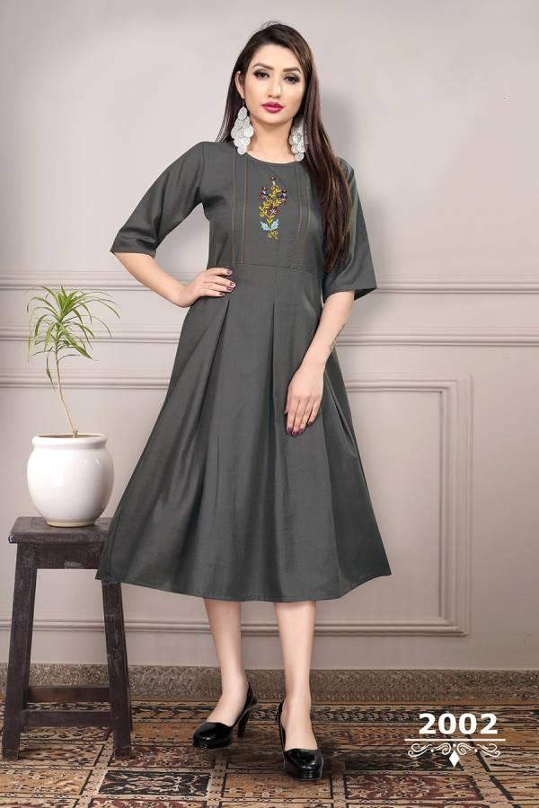 An Bazaar Sunheri Vol 2 Series 2001-2006 Heavy Ruby Slub Cotton With Thread Work Fancy Casual Wear Kurtis Collection