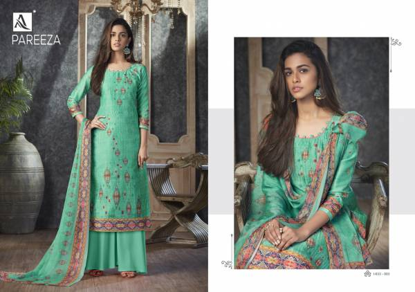 Alok Suit Pareeza Pure Jam Self Embroidery With Print Casual Wear Palazzo Suits Collection