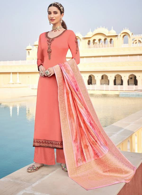 Alisa Suhan Vol 5 Series 5801-5806 Satin Georgette with Heavy Additional Diamond Work Party Wear Designer Palazzo Suits Collection