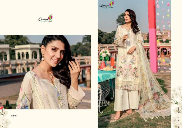 Saniya Trendz Roucha 4 Pure Cambric Chikankari Embroidered Work Pakistani Suit Collection