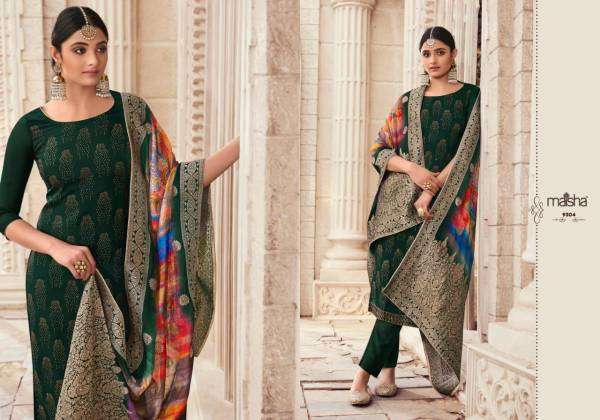 Maisha Khawaish Pure Silk With Heavy Swarovski Work Straight Suits Collection
