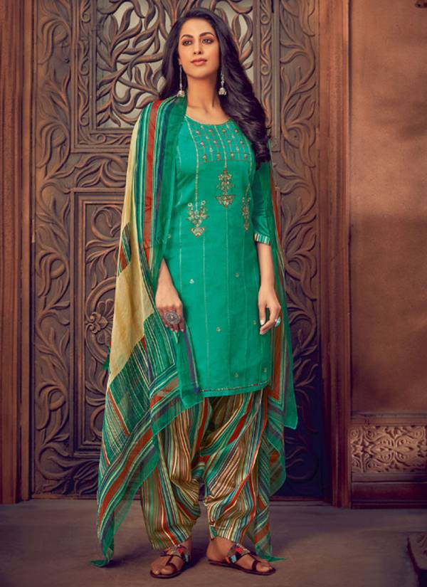 Leela Surili Series 1001-1008 Jam Cotton Silk With Embroidery Work Palazzo Suits Collection