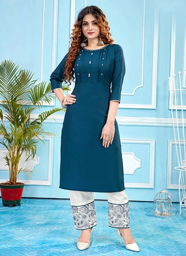 An Bazaar Livas Series LIVAS2001-LIVAS2006 Heavy Ruby Slub Cotton With Additional Work New Designer Kurtis With Pants Collection