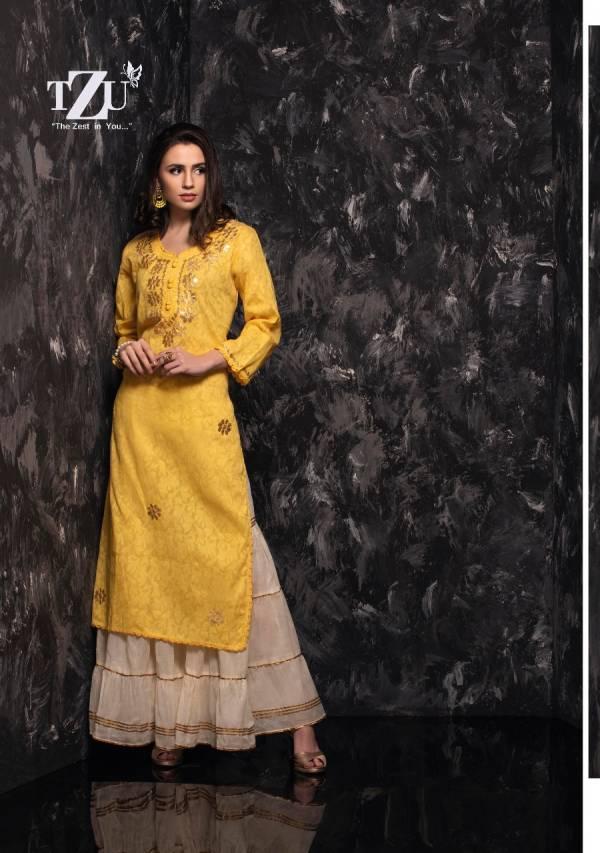 TZU Geetika Cotton With Hand Work Kurtis With Sharara Collection