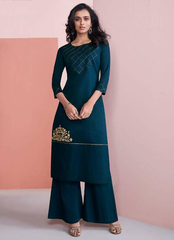 Vamika Nazz Vol 2 Series 409-416 Pure Viscose Silk Kurti And Cotton Inner With Palazzo Collection