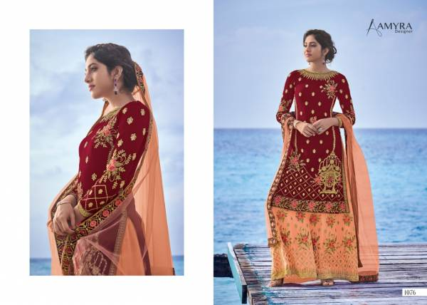 Amyra Designer Gulnaaz Vol 16 Series 1076-1081 Heavy Georgette With Heavy Exclusive Embroidery With Fancy Daimond Work Wedding Wear Palazzo Suits Collection