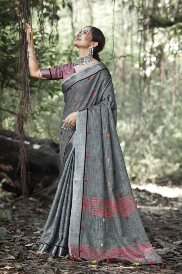 Sangam Prints Sangeet Linen New Fancy Festival Wear Sarees Collection