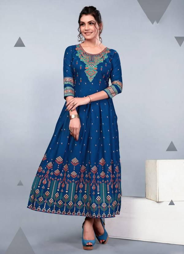 Blue Hills Glamour Vol 3 Series 301-310 Rayon Long Gown With Foil Print Kurti Collection