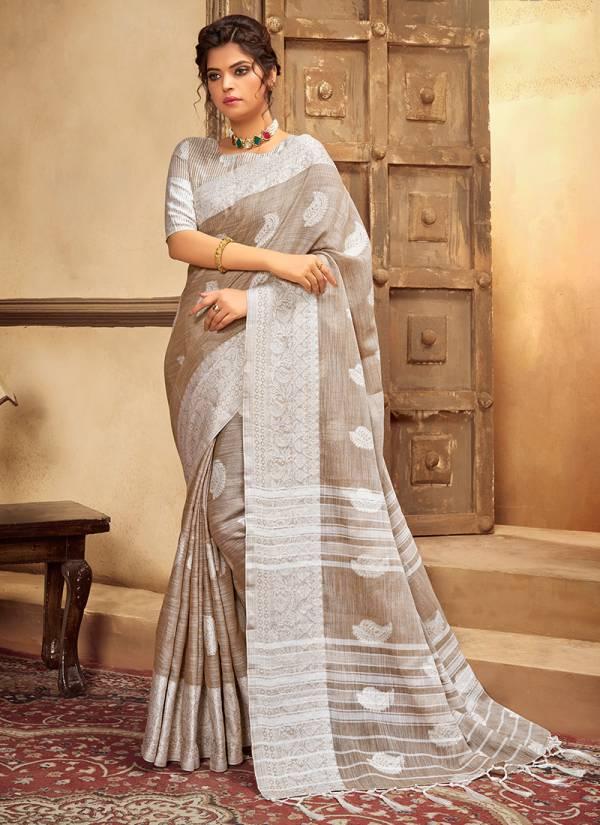 Ashika Sarees Chikankari Butta Cotton Linen Traditional Wear Sarees Collection