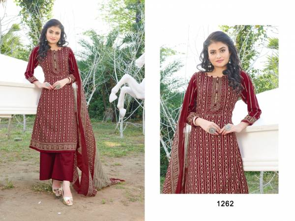 Bipson Kyraa Maroon Cotton Slub Printed Palazzo Suits Collection