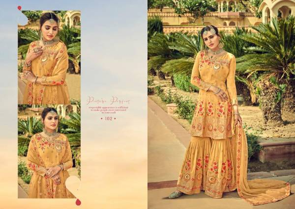 Aamyra Designer Gajban Series 101-106 Heavy Georgette With Exclusive Embroidery Work Ramzan Eid Special Readymade Sharara Suits Collection