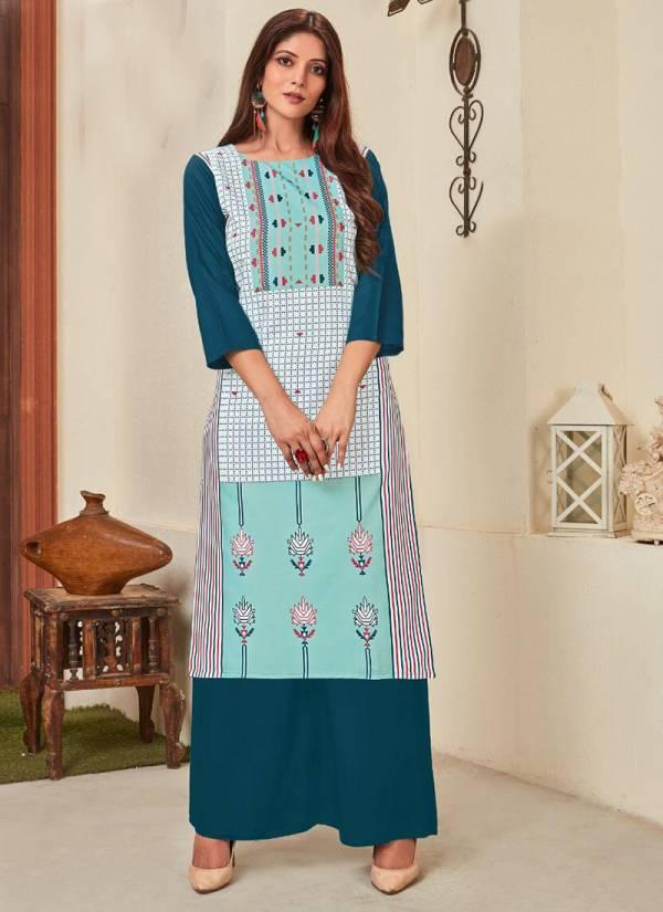 12 Angel Heritage Vol 8 Series HERITAGE3001-HERITAGE3008 Rayon Digital Printed New Fancy Office Wear & Trendy Wear Kurtis Collection For woman