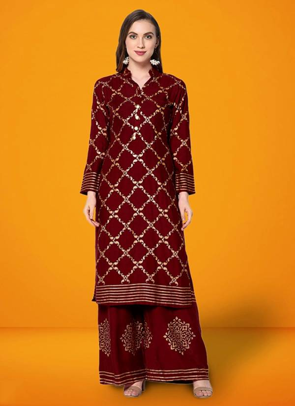 Kesari Exports Cutemad Vol 5 Series 5001-5008 Butter Crepe Front And Back Foil Print Work Designer Party Wear Kurti With Palazzo Collection