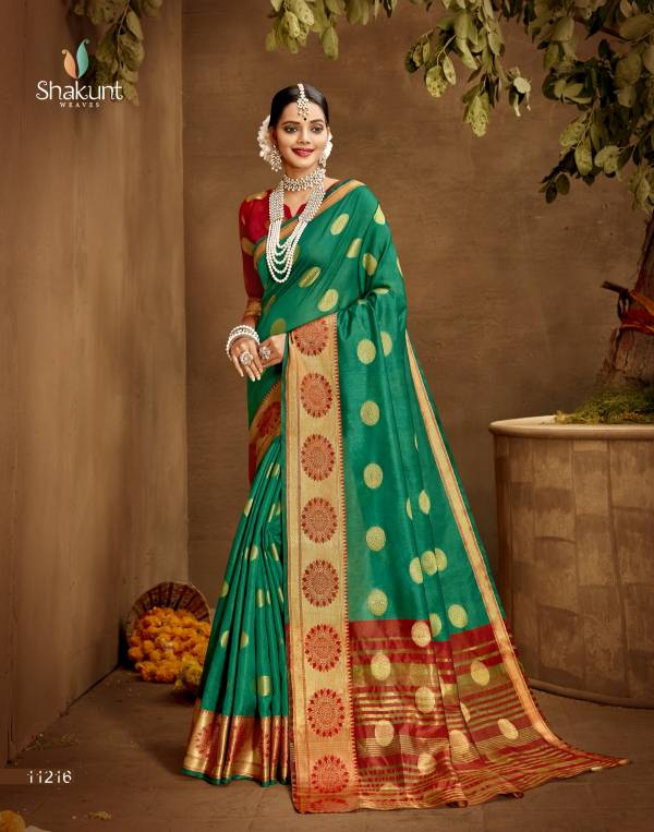 Shakunt Weaves Triveni Navyug Series 11211-11216 Jacquard Silk Designer Exclusive Traditional Wear sarees Collection
