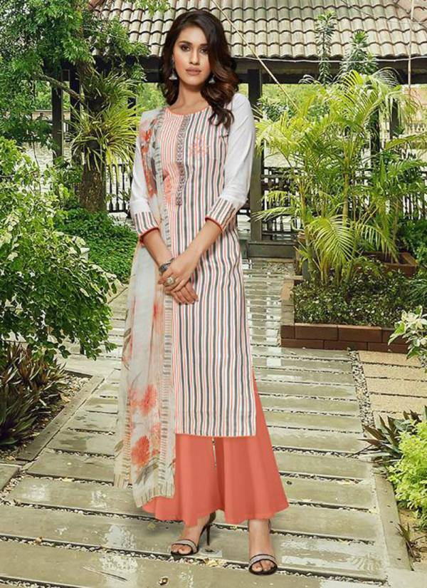 Adinath Trendz Heena Series 49001-49008 Heavy Cotton Digital Style Print With Embroidery Work Latest Designer Regular Wear Palazzo Suits Collection